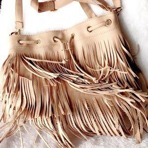 Vegan Leather Fringy Boho Bucket Bag Rose Beige